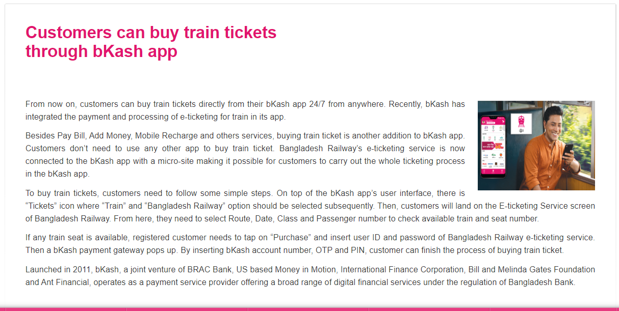 Buy Train Ticket Bkash