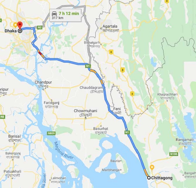 Chittagong to Dhaka Train Route