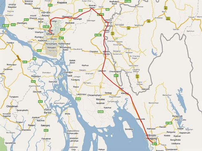 Train Route map of Dhaka to Chittagong