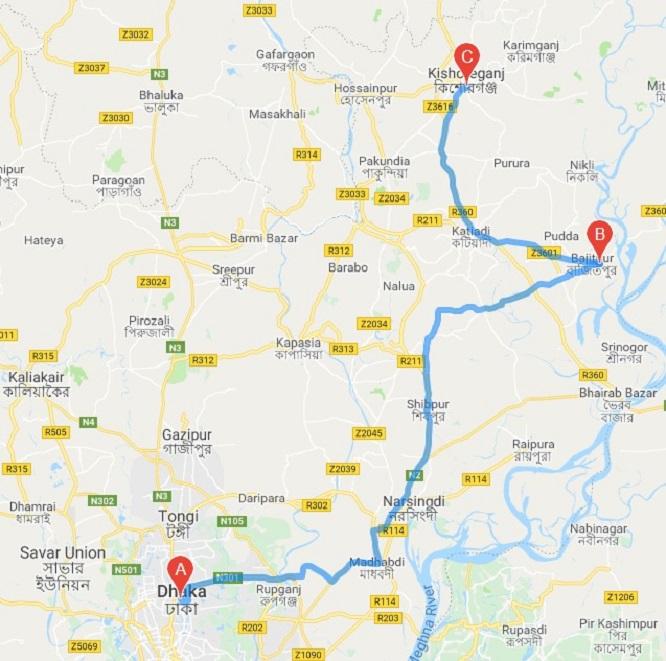 Dhaka to Kishoreganj Train Route Map