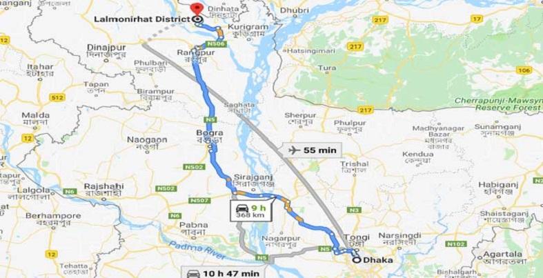 Dhaka to Lalmonirhat Train Route Map