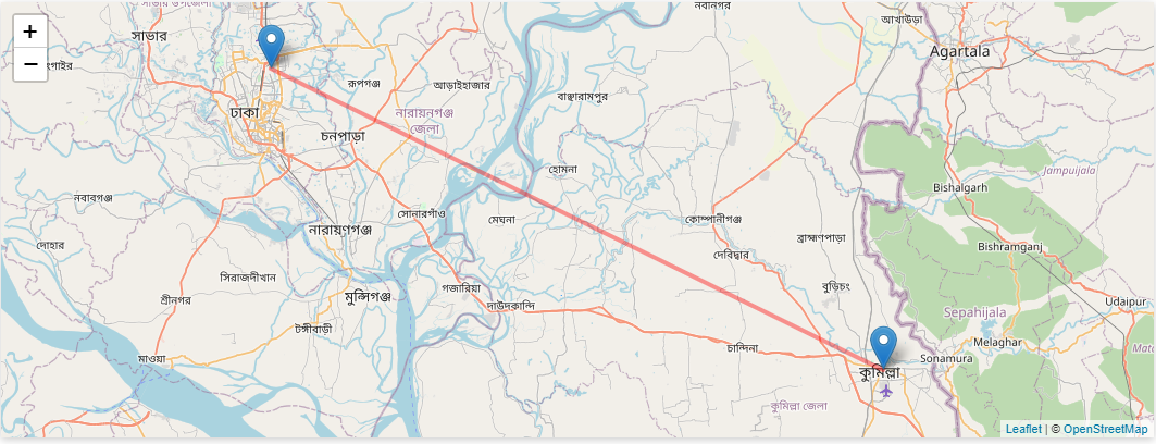Dhaka to Comilla Train Distance