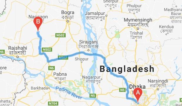 Dhaka to Sirajganj Train Route Map