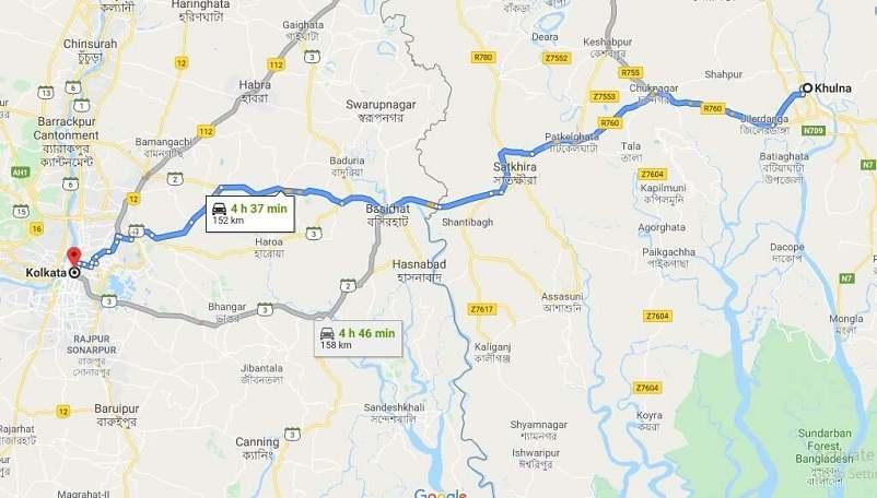 Khulna To Kolkata Bandhan Express Route Map