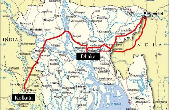 Kolkata To Dhaka Train Route Map
