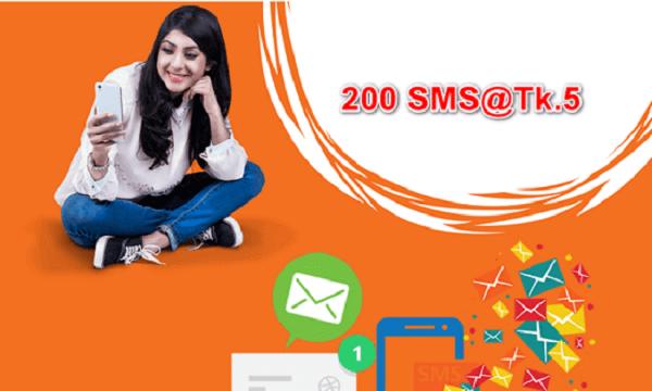 Banglalink 200 SMS Pack Offer 5 Taka