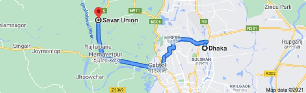 Dhaka To Savar Bus Route Map