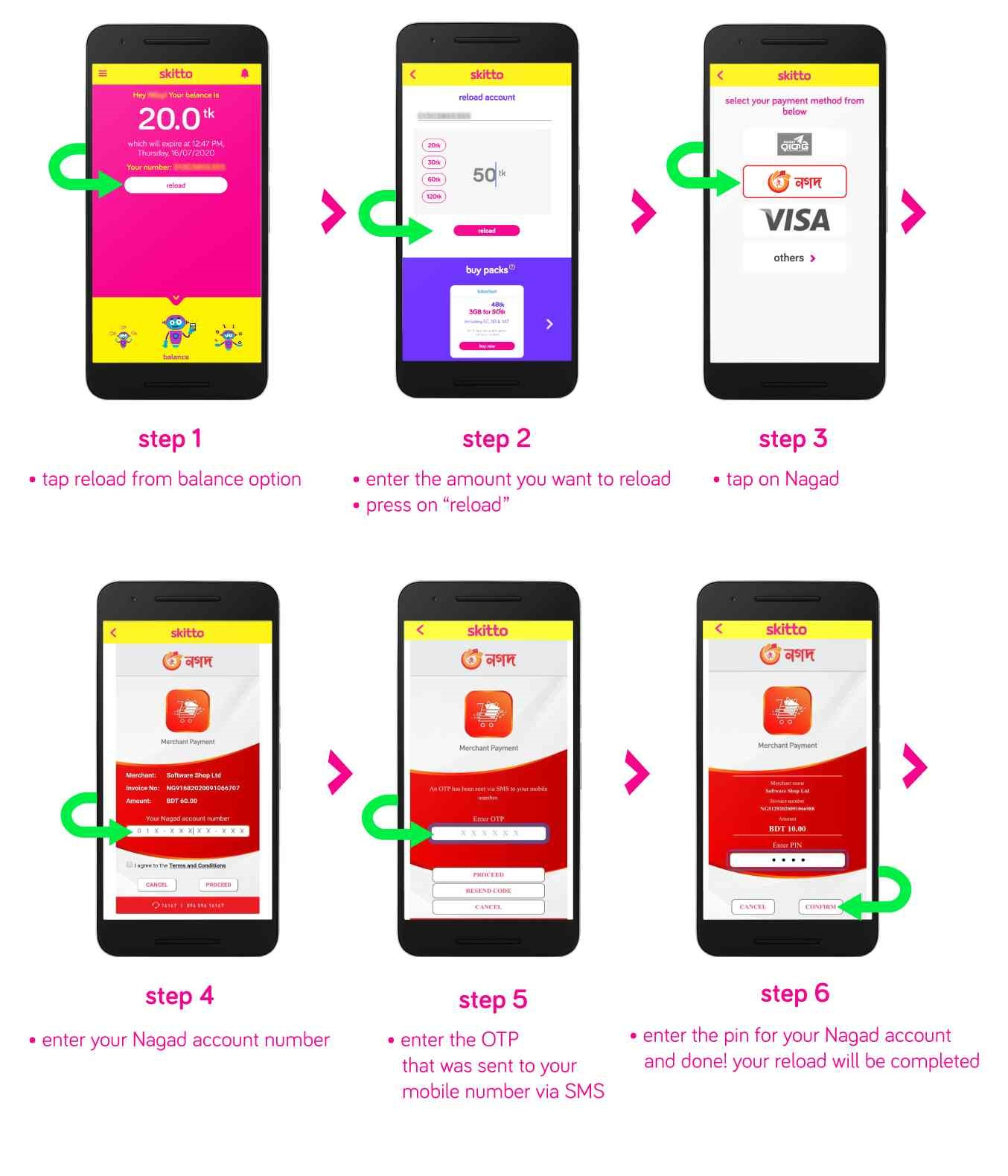How to Skitto SIM Recharge By Nagad